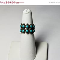 ON SALE Vintage Native American Sterling Silver Petit Point Turquoise Ring, Zuni, Double Row, Snake Eyes, Size 5 1/2,  So Pretty! #A985