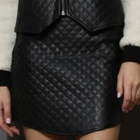 Black Faux Leather Quilted Mini Bud Skirt
