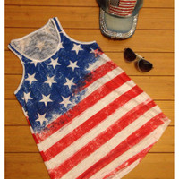 """Patriotic Me"" Red, White and Blue, Stars and Stripes American Flag Tank Top"