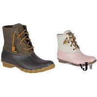 Sperry Womens Saltwater Duck Round Toe Ankle Rainboots,Various Sizes, Colors