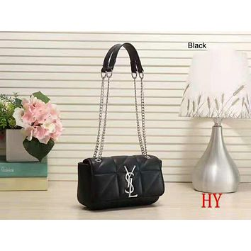 YSL 208 new trend casual wild personality small square bag shoulder slung portable chain bag black