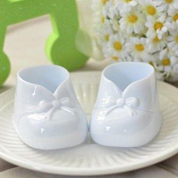 6 White Baby Booties Favors Baby Shower Party Decoration Gender Neutral Birthday