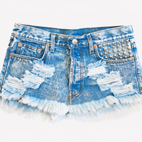Malibu Girl Acid Studded Denim Skirt