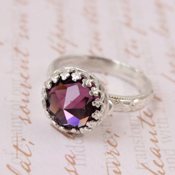 Vintage Swarovski ring, 10 mm amethyst crystal, silver ring, floral band, pink purple, February birthstone, promise ring, stackable, shiny