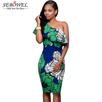 2016 Floral Print Women Summer Tunic Beach Dress Casual All Eyes Are On You One Shoulder Party Dress Short Bodycon Midi Dress