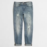 Factory distressed boyfriend jean in light wash