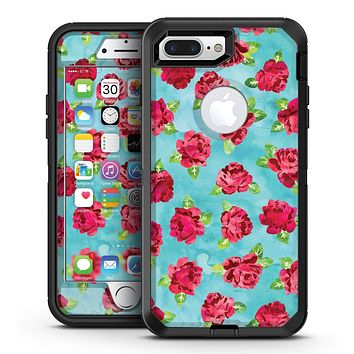 Shabby Chic Flowers over Aqua Watercolor Pattern - iPhone 7 Plus/8 Plus OtterBox Case & Skin Kits