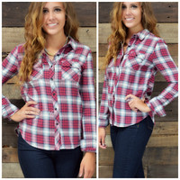 SZ LARGE Huckleberry Fields Red Flannel Top
