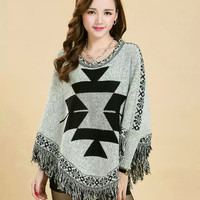 Geometric Print Sleeve Fringed Cape Sweater