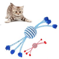 Christmas Cat Toy Cotton Dog Rope Toy Knot Cat Catch Candy Chew Toy Dog Play Entertainment Interactive Non-toxic Bite