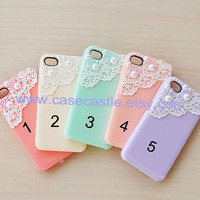 Iphone 4 case - Vintage Lace with Pearl Iphone 4S case, Plastic hard case, Waterproof, 5 colors for choose