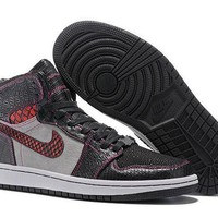 DCCKIJ2 Men's Nike Air Jordan 1 Retro High Leather Broolun Zoo Basketball Shoes Black Red