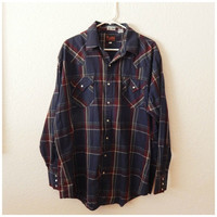 Vintage Mens Western Plaid Pearl Snap Up Shirt Fall Blue Red Check Top XLarge Tall