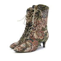 80s Boots Vintage Tapestry Granny Victorian Steampunk 6.5