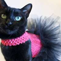 CoolCats Hot Pink and Black Cat Tutu with Zebra Bow