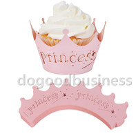 10pcs/Pack Blue it's a boy Pink Princess Crown Baby Shower Birthday Party Laser Cut Celebration Decor Wrapper Wraps Cupcake Case