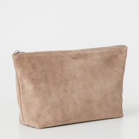 Large Leather Cosmetic Pouch Dune Suede