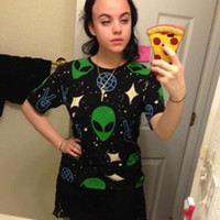 O-neck Cropped Cotton Aliens Print T-Shirt Tops