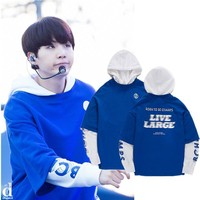 Kpop Bts Sweatshirts Hoodies Hooded Women Men Moleton Suga Tracksuit Blue Cotton Harajuku Top Coat