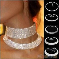 New Crystal Rhinestone Collar Necklace Choker Necklaces Wedding Birthday Jewelry ( SIZE MEANS QUANTITY OF ROW) (Size: 5) [7981429575]