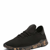 Men Lace Up Slogan Sole Trainers
