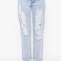 Radka Blue Ripped Mom Jean - Jeans- PrettyLittleThing | PrettyLittleThing.com