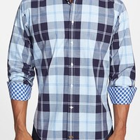 Men's Thomas Dean Regular Fit Plaid Sport Shirt,