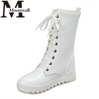 MOON WALK Winter Women Fashion snow boots for women lace up long boots shoelace leather increasing shoes black white J4263