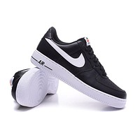 Nike Air Force 1 One Classic White / Black Low Running Sport Casual Shoes 488298-092 Sneakers