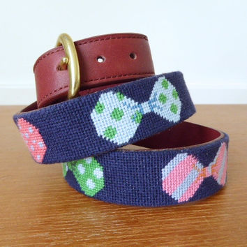Preppy needlepoint bowtie belt with leather and brass buckle