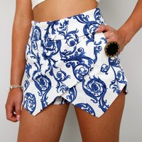 BLUE PAISLEY FLORAL PRINTS DOUBLE POINTY WRAP SKORT SHORTS 6 8 10 12