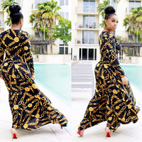 Gold and Black Print Long Sleeve Maxi Dress