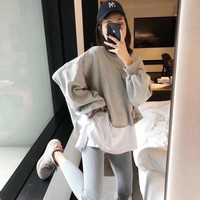 Top Gift new classic solid color loose men and women sports suit two-piece