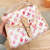 LV New fashion multicolor monogram print leather shoulder bag handbag crossbody bag White