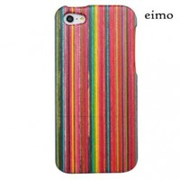 eimolife (TM) Unique Handmade Natural Wood Wooden Hard bamboo Case Cover for iPhone 5 with free screen protector(colorful stripe)