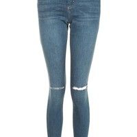 MOTO Dark Blue Ripped Leigh Jeans | Topshop