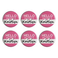 Kaitlyn Hello My Name Is Plastic Resin Button Set of 6