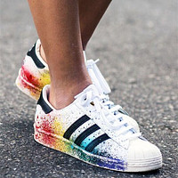"""Adidas"" Superstar Women Men Multicolor Shell-toe Flats Sneakers Sport Shoes"