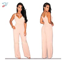 Fashion Sexy Long Rompers Women jumpsuit 2016 Hot Sale Summer Woman Sleeveless Deep V-Neck Pink bodysuit Strapless Backless