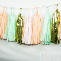 ASSEMBLED Tassel Garland Kit - Peach, Mint, Pink & Gold - Peach, Mint, Mylar gold, Wedding Shower Tissue Paper Tassle Decor Balloon Tails