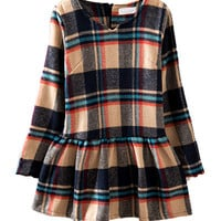 Plaid Long-Sleeve Peplum Dress