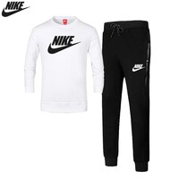 NIKE autumn and winter new sports suit men's casual running two-piece suit White