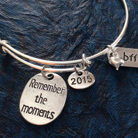 Remember The Moments 2015 Best Friends BFF on a Silver Expandable Bangle Bracelet Meaningful Graduation Gift