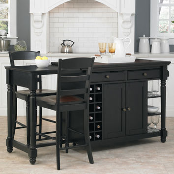 Home Styles Grand Torino Kitchen Island Set with Wood Top