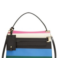 Valentino 'My Rockstud' Striped Leather Satchel - Black