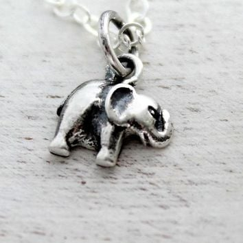 Baby Elephant Charm Necklace, Elephant Lovers Gift, Elephant Jewelry, Sterling Silver Elephant Charm, Baby Circus Elephant