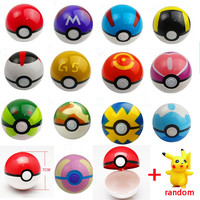 13Styles 1Pcs Pokeball + 1pcs Free Random Pokemon Figures Anime Action Figures Toys