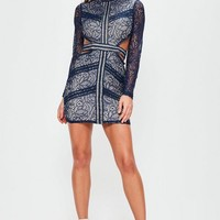 Missguided - Navy Lace Waist Cut Out Long Sleeve Bodycon