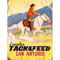 Lonestar Tack & Feed San Antonio Wood Sign