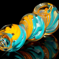 Large Triple Bubble Glass Spoon Bowl - Aqua Water Blue Swirls with Golden Sunshine - Heavy Color Changing Glass Smoking Pipe